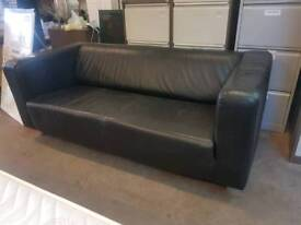 Modern black leather two seater