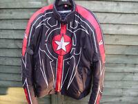 """HEIN GERICKE CORDURA WATERPROOF MOTORCYCLE JACKET BLACK/RED size XL 44""""-48"""" ARMOURED,LINER, AS NEW"""