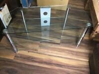 Clear glass / chrome TV stand