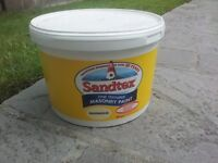 20 litres (2 buckets) of sandtex fine textured masonary paint in magnolia. screwfix price over £57
