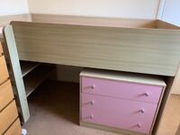 Cabin bed with drawers & desk