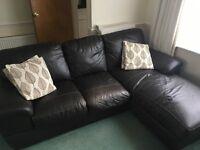 Brown Leather Corner Sofa £50