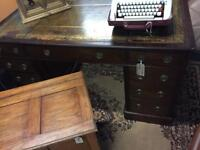 Stunning mahogany Victorian writing desk leather top