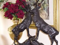 A Pair of Bronze Stags Signed Moigniez
