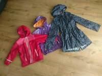 Girls kids 4-6 years waterproof fleece lined jackets coats and pac-a-mac