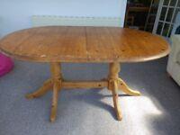 Double pedestal, extending pine table