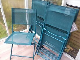 Folding/ Garden Chairs, green, set of six, as new, only used once, some in original wrapping
