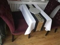 Table and 4 chairs velvet