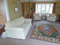 3 Piece Suite, Collins & Hayes, pale yellow - 2 Chairs and 3 seater Sofa/Settee in Good condition