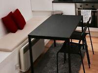 Table and chairs (IKEA TÄRENDÖ (Black) and Chairs - IKEA ADDE (Black) (x2 ))