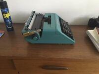 typewriter Olivetti STUDIO 45, 1967, designed by Ettore Sottsass + original case turquoise
