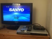 "Samsung 23"" LCD TV, Sanyo DVD player, Dion free view box"