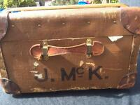 Vintage storage luggage chest trunk and original shirt shelf