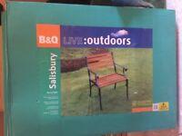 2 Hardwood and metal garden chairs