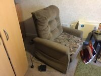 2 x Used Rise and Recline Cloth covered chairs, one for Lady and one for Gent