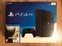 New boxed PS4 Pro 1TB 4K with receipt + Dying Light (FPS Survival Game)