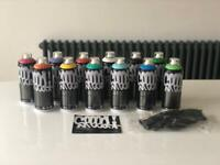 12 MTN New Colour Spray Cans and Gloves
