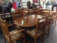 New Plan extending dining table with 6 chairs