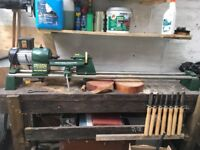 Woodworking Lathe (Record)/ turning tools and crosscut (chop)saw