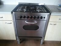 Cooker. Stainless Fan oven 5 gas burners on top