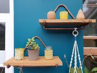 Beautiful handmade oak and copper shelves