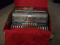 Marinucci Piano Accordian in stunning blue colour - good condition