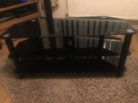 Black 3-tier Glass TV Stand