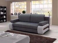 SOFA BED--- ITALIAN DESIGN - 3 SEATER SOFABED WITH CONVERTIBLE 4FT6 BED -- STORAGE -- GREY AND BROWN