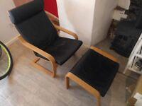 Leather Ikea Poang & Footstool