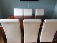 Solid mango wood dining table with 6 chairs