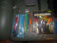 a used fishing bundle with seat box and some bits floats small rod