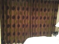FULL LENGTH LINED CURTAINS IN BROWN WILL FIT LARGE WINDOW OR PATIO DOORS