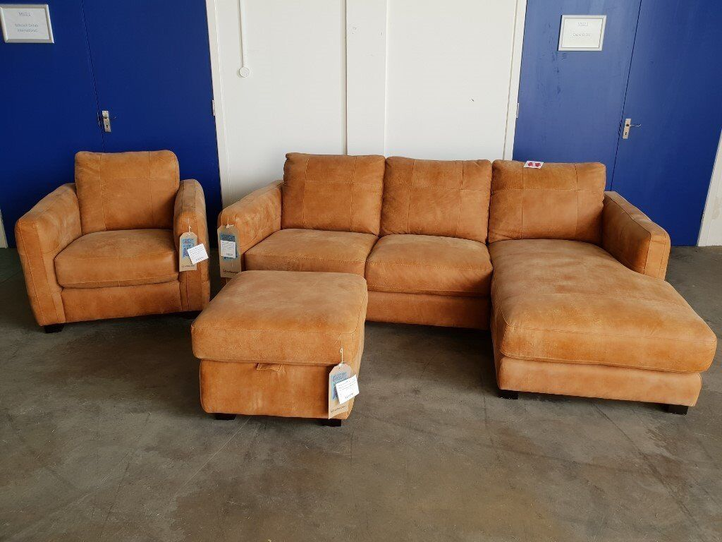 BRAND NEW JASPER LEATHER CORNER SUITE 3 SEATER CHAISE / CORNER SOFA  ARMCHAIR & STORAGE FOOTSTOOL | in Rosyth, Fife | Gumtree