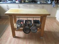 Ikea Groland kitchen island/ butchers block, with butchers' hooks and galvanised steel containers