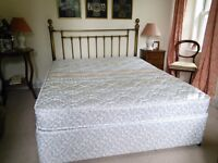Queen-size bed, infrequently used. Silentnight Sorrento mattress in excellent condition.