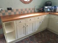 Country Style kitchen units With integrated fridge and dishwasher. Belfast type sink