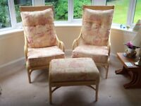 Two Conservatory Chairs with one Footstool