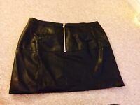 River Island Women's Black Leather Look Mini Skirt Size 16