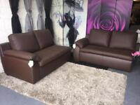 New 2 X 2 Seater Sofas Brown Leather 2 Seater Sofas