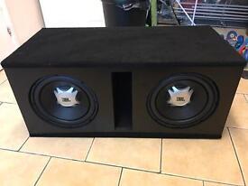 "2 jbl 12"" comp subs in custom bass box with 3000watt loudest amplifier mint"