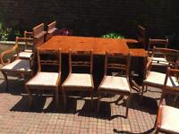 Beautiful Yew Dining Table With three drop leaves and 11 chairs Mines of Downley