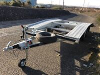 Brand new, never used, Car transporter, recovery trailer, ramps, winch, spare wheel, straps,