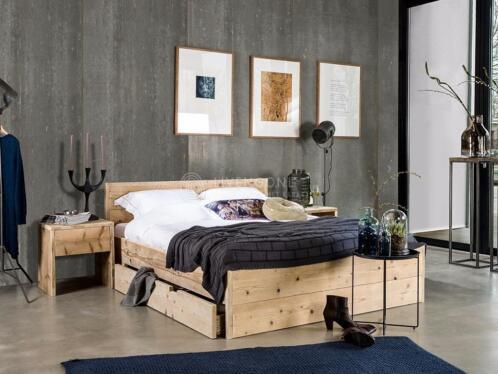 ≥ steigerhouten bed met lade lades bed met opbergruimte