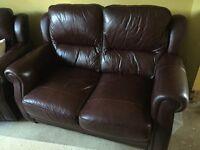 Two Burgundy John Lewis Leather Sofas