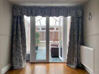 Grey floral curtain, pelmet, fixings x 2 pairs