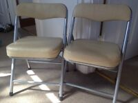 Pair of folding kids chairs leather-effect