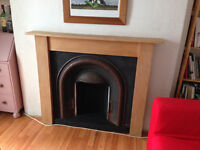 Cast iron fireplace & wooden surround needing work (free delivery around belfast)