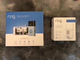 New and unopened Ring video doorbell 2 plus Chime pro