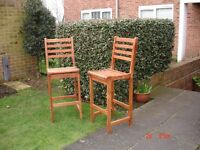 PAIR OF TEAK BAR CHAIRS SUITABLE FOR INDOORS OR OUTDOORS