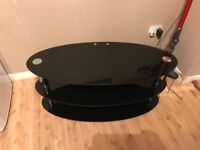 3 Tier Black Glass Tv Stand— Good Condition